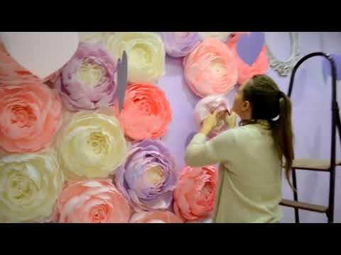 видео: Монтаж фотозоны из бумажных цветов