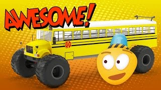 monster truck school bus   construction game   educational cartoon video for kids