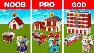 Minecraft NOOB vs. PRO vs. GOD: FAMILY FIRE STATION BUILD CHALLENGE in Minecraft (Animation)