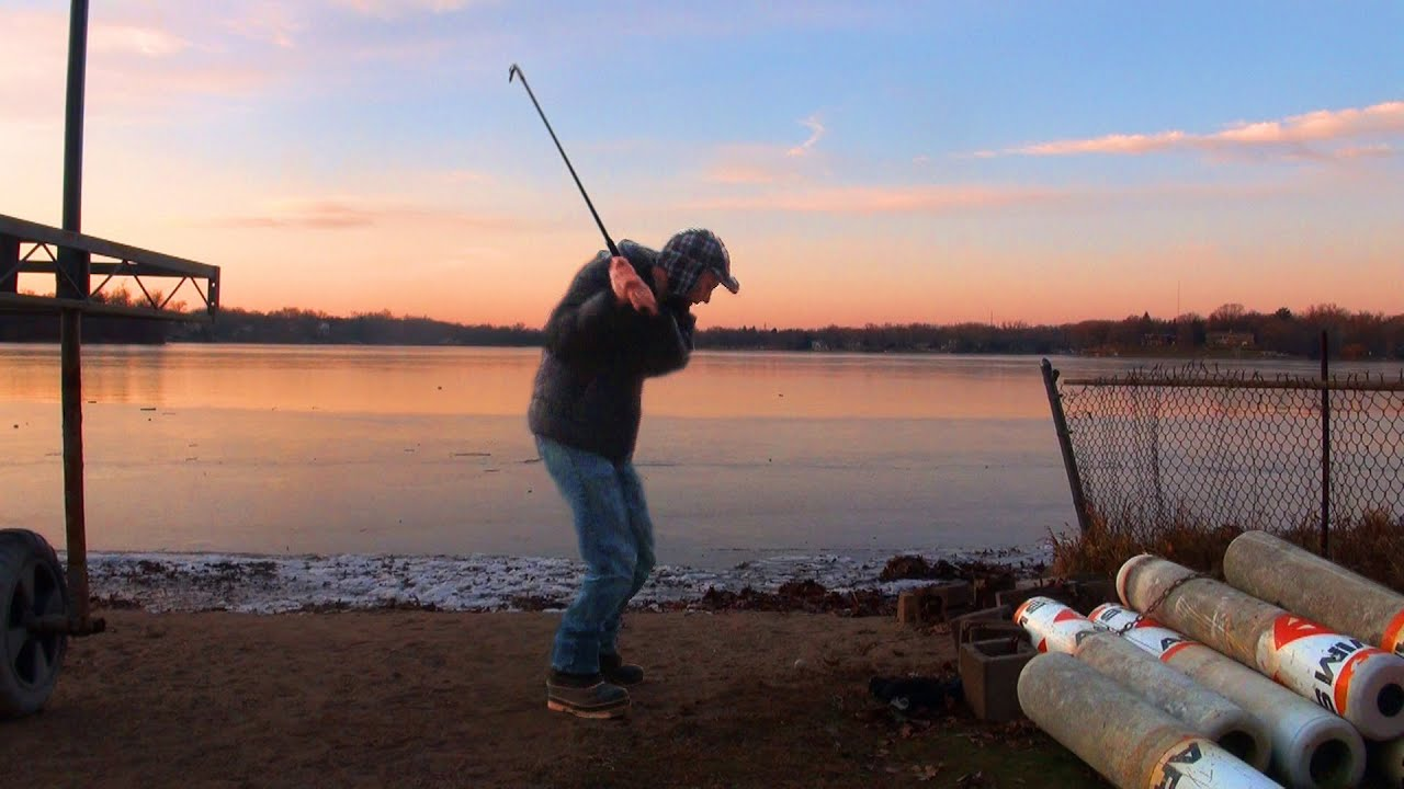 Sound of Hitting Golf Balls onto a Frozen Lake - Minnesota Cold (Part 32)