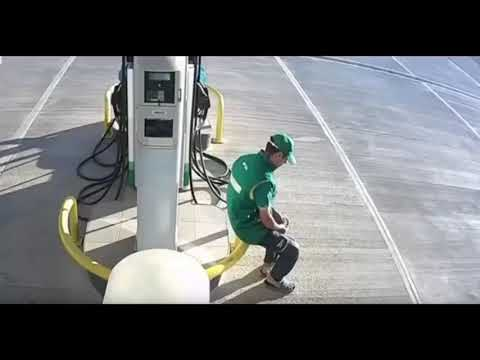 Lucky petrol station worker narrowly escapes death.