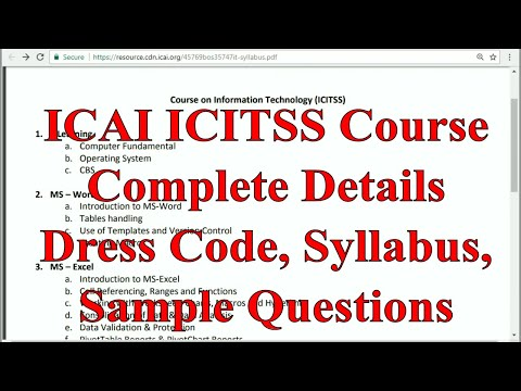 Complete information about ICITSS Training of ICAI || Dress Code, Syllabus, Passing percentage etc.
