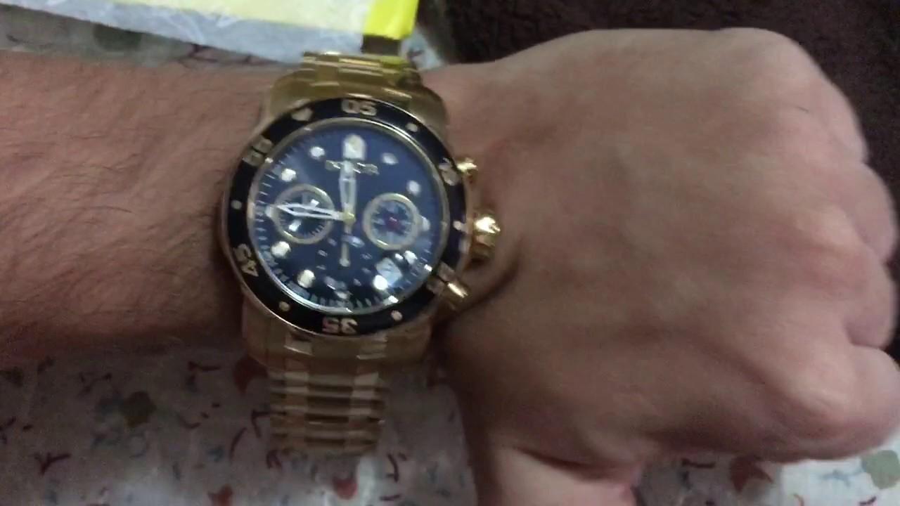 adfa08c5675 Relógio Invicta Banhado a Ouro 18k Pro Diver Subaqua 0072 - YouTube