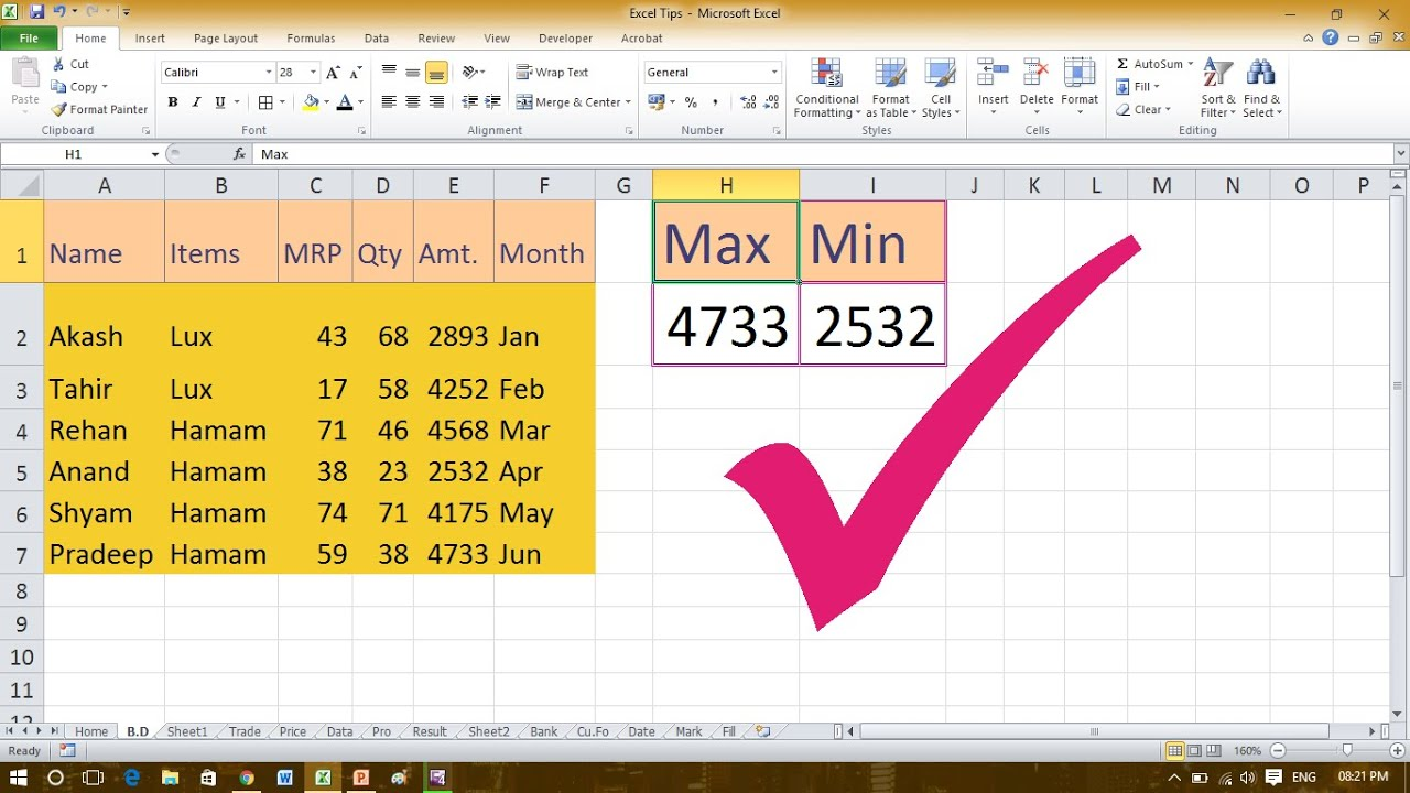 Use The Min, Mina, Max & Maxa Function In Excel