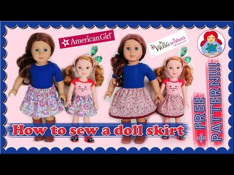DIY | How to sew a skirt for your American Girl or Wellie Wisher doll + FREE PATTERN !!