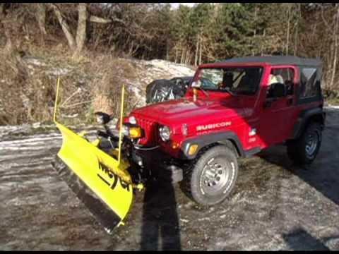 Jeep Wrangler Snow Plow >> Jeep Wrangler Rubicon- Meyer plow - YouTube