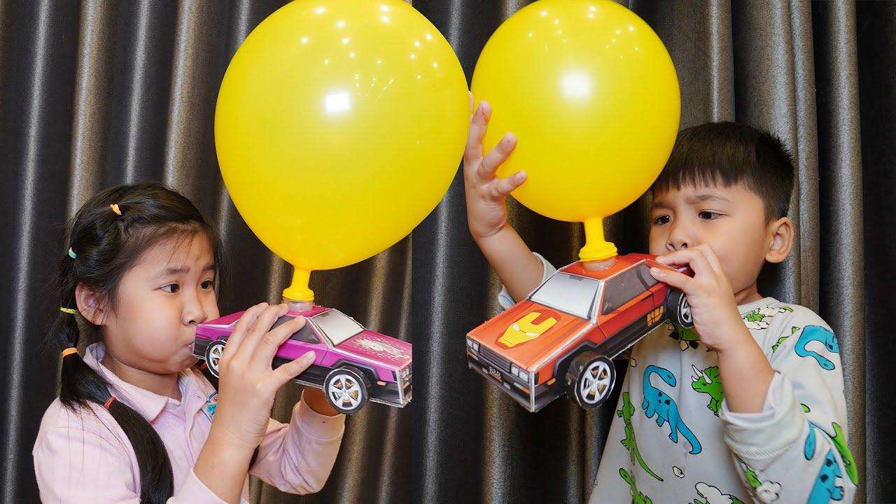 Bé Bún Thổi Bóng Xe Chạy Phiên Bản Bố Làm   Blow balloons push the car toys