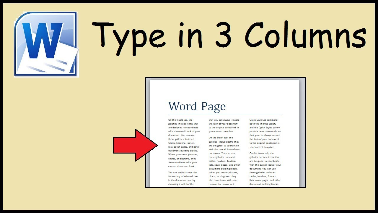 How to type in 21 columns Word With 3 Column Word Template