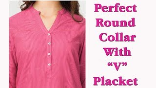 Perfect round collar with, Perfect 'V' placket ,with English subtitles part 2