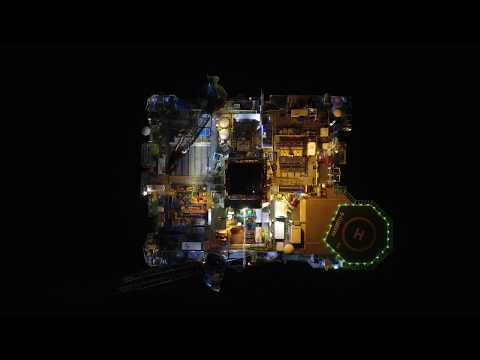 Hakuryu-5 Drilling Rig - Night Aerial Drone