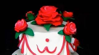 Розы из мастики. Цветы из мастики. Сахарные цветы. Розочки на торт. Торт с цветами.
