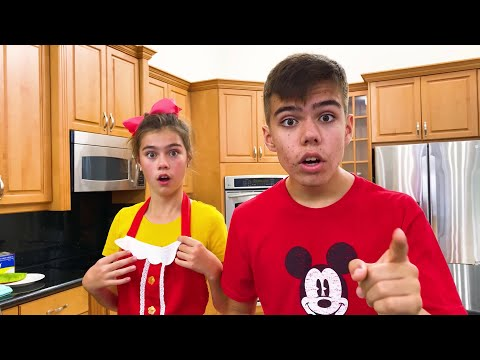 Nastya and Artem preparing sweets for a puppy