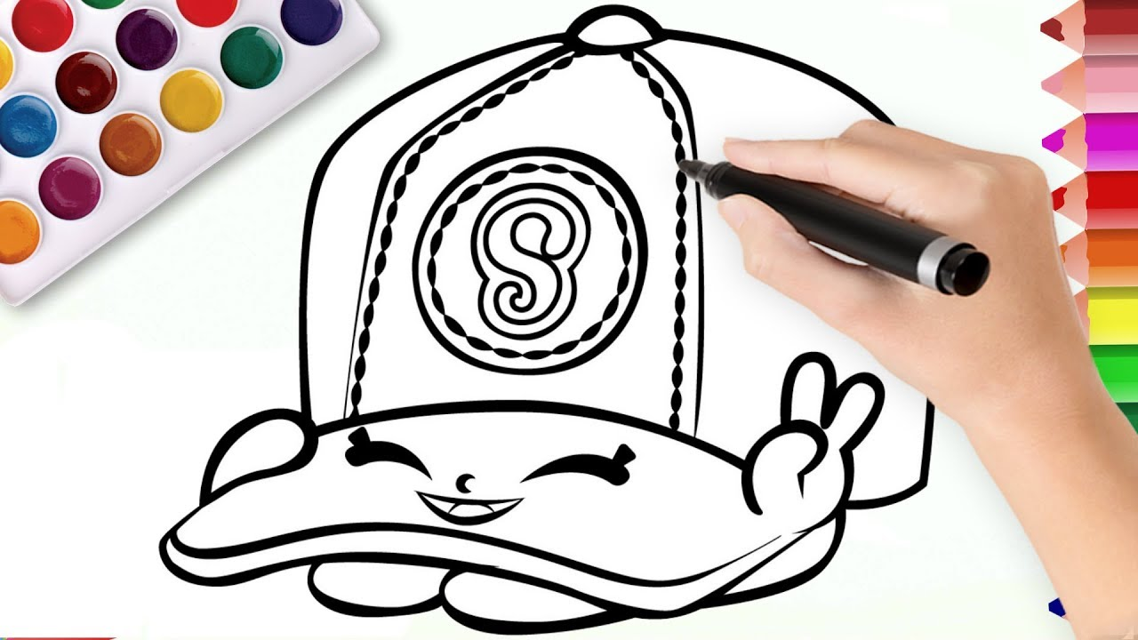 Baseball Cap Shopkins Coloring Page For Kids Youtube