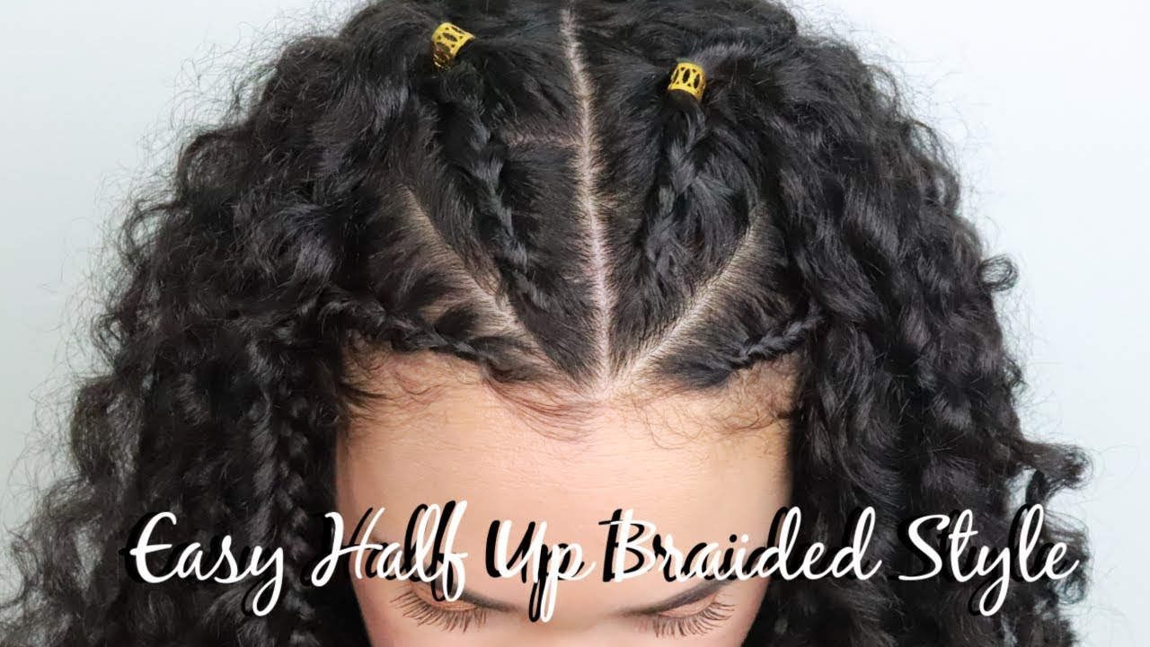 Half Up Braided Hairstyle For Curly Hair Easy Fall Hairstyle