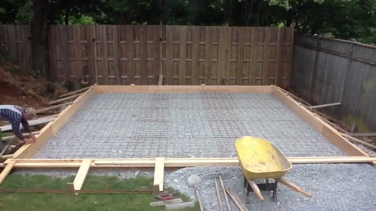 Garage pt 8 pouring the floor youtube for Garage slab thickness