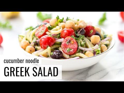 CUCUMBER NOODLE GREEK SALAD | vegan + gluten-free