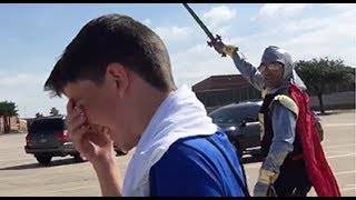BEST School Camp Pickup EVER! Plano TX Dad Picks Son Up From Camp in Knight Crusader Costume!