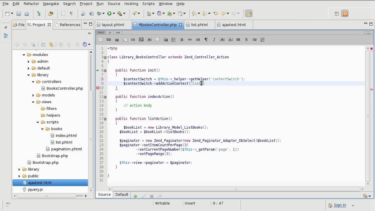 Zend framework 1 9 tutorial 14 ajax requests part 1
