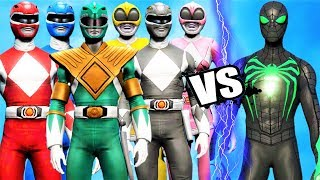 POWER RANGERS (MIGHTY MORPHIN) vs GREEN SPIDER-MAN (Anti Ock Suit)