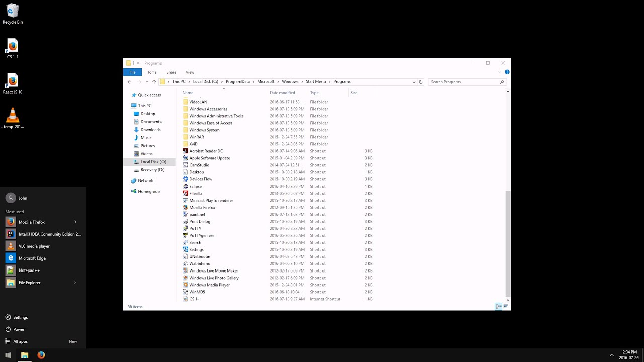 how to remove start menu items windows 10