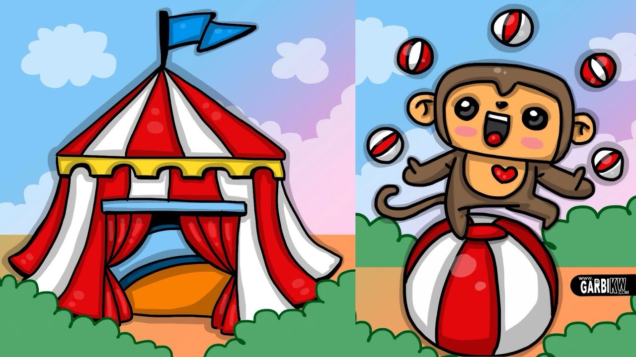 how to draw circus and cute monkey kawaii drawings by garbi kw