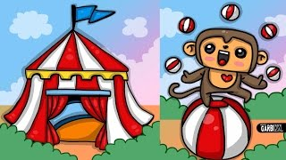 How To Draw Circus and Cute Monkey  - Kawaii Drawings by Garbi KW