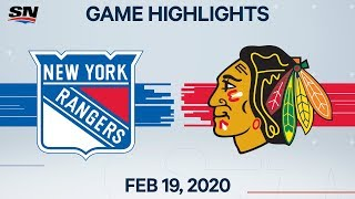 NHL Highlights | Rangers vs Blackhawks - Feb. 19, 2020