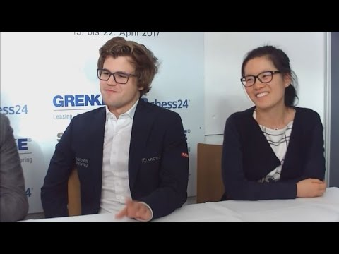 Carlsen's Very Happy Escape against Hou Yifan Round 3 Grenke Classic Chess 2017