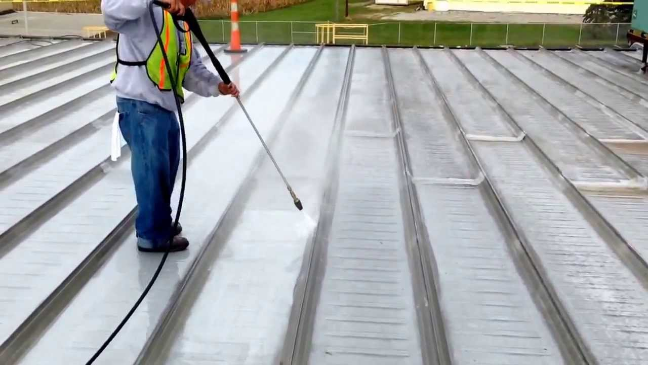 Great Power Washing To Prep For Uniflex Elastomeric Roof Coating Install