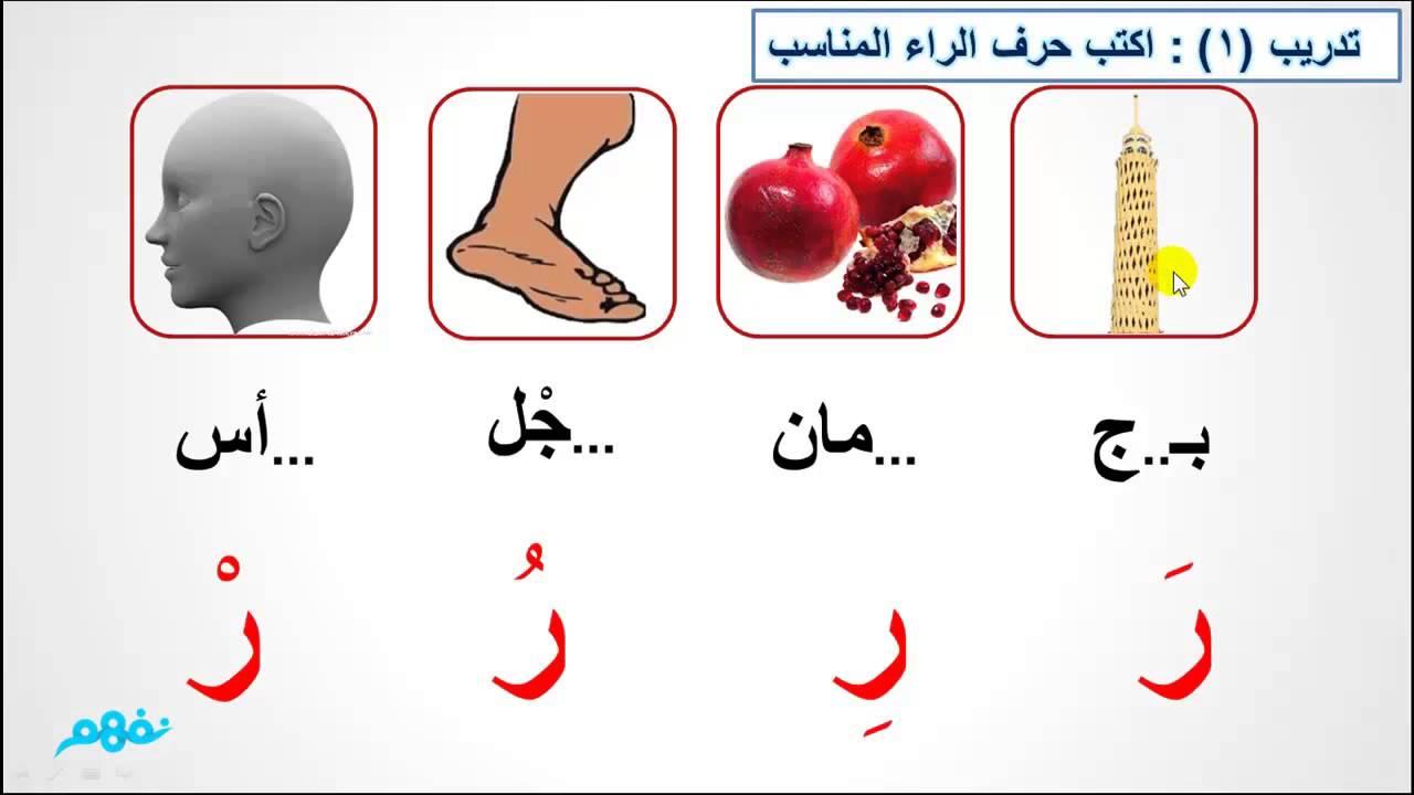 حرف الراء الصف الأول الابتدائي اللغة العربية موقع نفهم