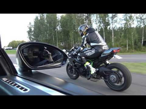 """[4k] Uncut Kawasaki Ninja H2 vs Bugatti Veyron 16.4 """"Dutchbugs""""  in 4k Ultra HD"""