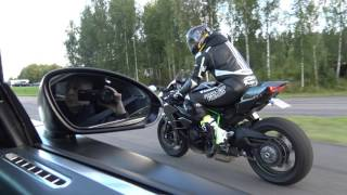 [4k] Uncut Kawasaki Ninja H2 vs Bugatti Veyron 16.4 'Dutchbugs'  in 4k Ultra HD