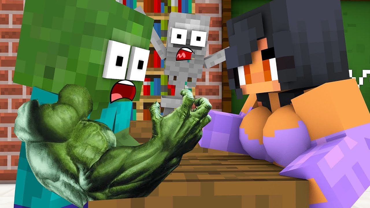 Monster School : ZOMBIE VS APHMAU STRONG CHALLENGE - Minecraft Animation
