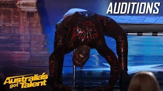 CREEPY Spider Contortionist Troy James | Auditions | Australia