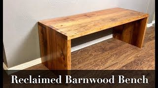 Reclaimed Barnwood Bench Using Through Dowel Joinery