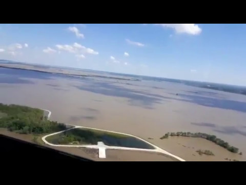 2017 Flood on the Mississippi River from Helicopter.