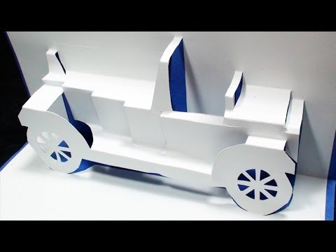 How to make a Classical CAR Pop Up Card FREE Template - (Kirigami