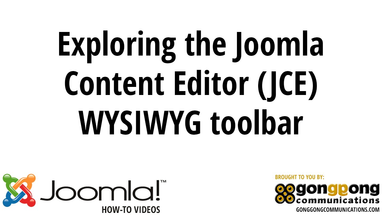 Exploring the Joomla Content Editor (JCE) WYSIWYG toolbar