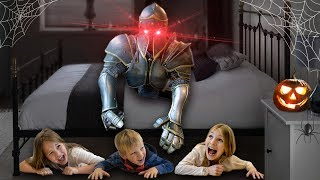 Амелия и Авелина and Akim meet a halloween knight - funny stories for kids