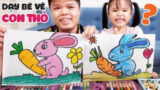 Dạy vẽ con thỏ và củ cà rốt từng bước dễ hiểu || How to draw a Rabbit