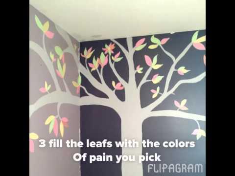 Diy como pintar un arbol en la pared del cuarto de tu ni a - Como decorar una habitacion de nina ...