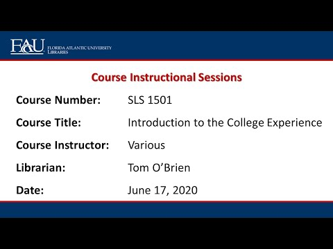 PBSC SLS 1501 Introduction To The College Experience (O'Brien) June 17, 2020