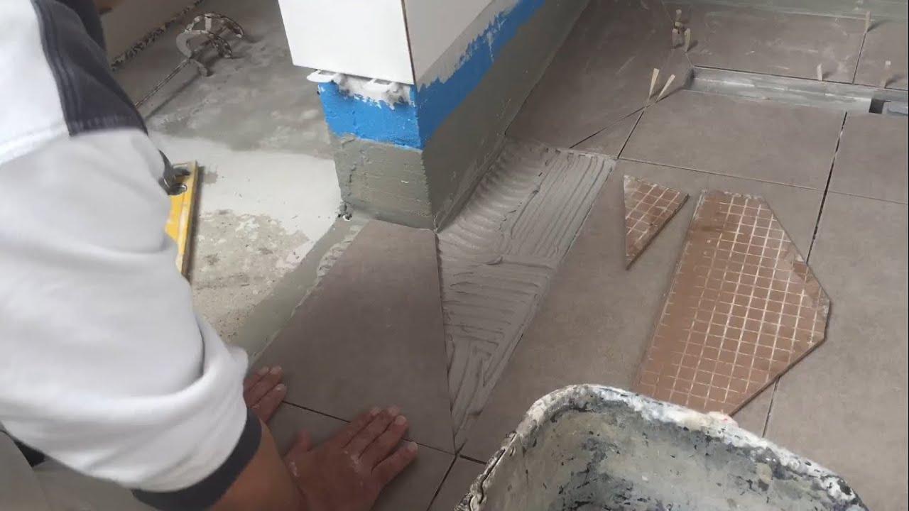 Fliesen verlegen Boden  begehbare Dusche  YouTube