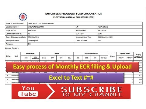 ECR Challan Generation | How To File ECR | PF Return In EPFO | 2018 | Prepare ECR Excel To Text File