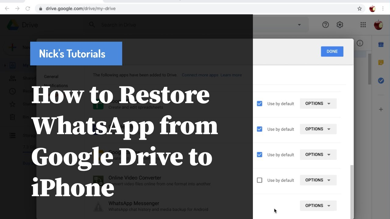 How To Restore Whatsapp Chats From Google Drive To Iphone Youtube