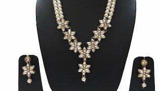 Diy handmade jewelry | Partywear pearl Kundan  flower Necklace | Stylish kundan flower Necklace