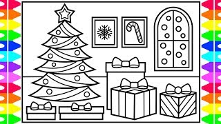 how to draw a christmas tree with presents step by step