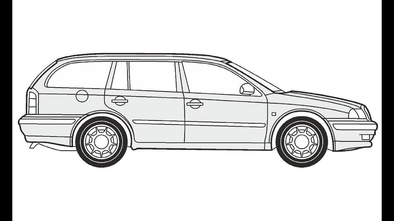 How to Draw a Skoda Octavia Combi / Как нарисовать Skoda