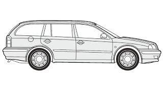 How to Draw a Skoda Octavia Combi / Как нарисовать Skoda Octavia Combi