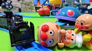 プラレール ドクターイエローでアンパンマンがスピードアップ!超スピードでもぐりんで逃げるバイキンマンを追いかける!D51 200号機蒸気機関車
